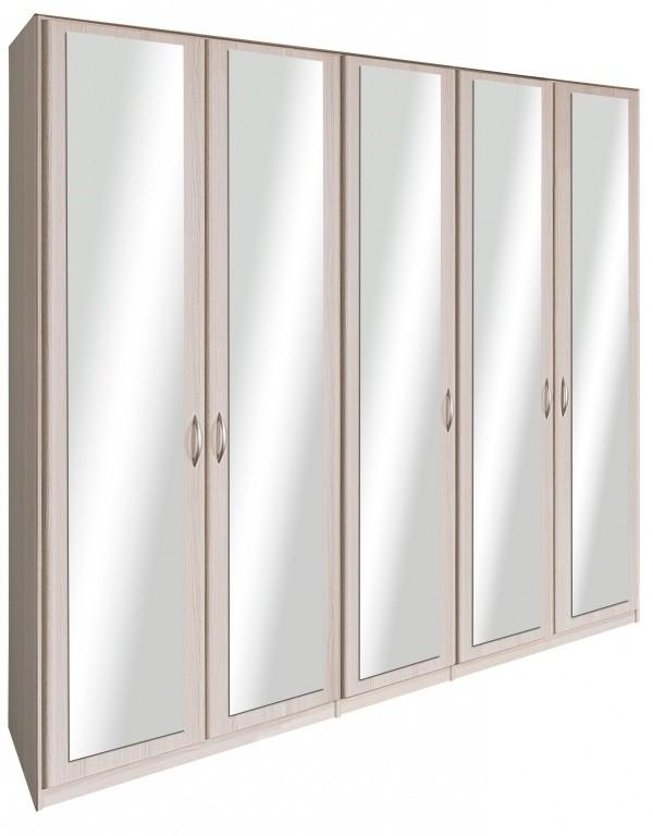 Cassanova - Šatníková skriňa(5x dvere so zrkadlom jaseň coimbra)