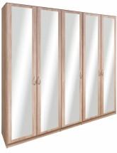Cassanova - Šatníková skriňa (5x dvere so zrkadlom)
