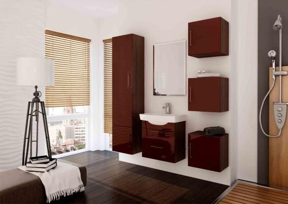 Catania - Kúpelňová zostava s umyvadlom (hnědá,boky wenge)