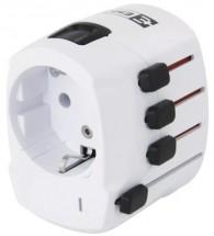 Cestovný adaptér do zahraničia Emos P0056, biely