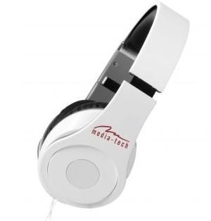 Cez hlavu Media-Tech Magicsound NS-3 slúchadlá s mikrofónom, biele