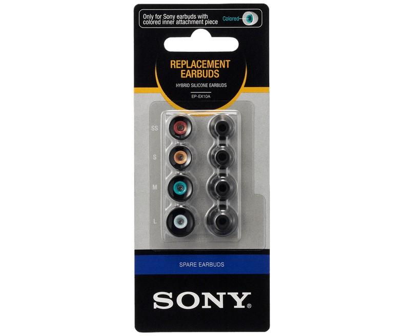 Cez hlavu SONY EP-EX10A Hybridní silikonové koncovky slúchadel-čierna