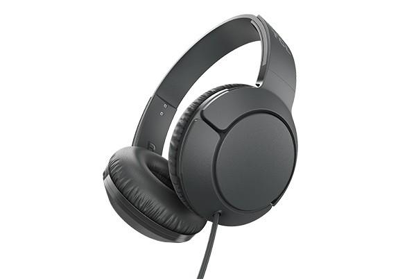 Cez hlavu TCL slúchadlá náhlavné, drôtové, mikrofón, čierna