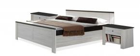 Chateau - komplet, posteľ 180cm (dub biely, lava čierna)