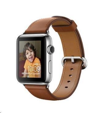 Chytré hodinky Apple Watch Series 2, 38mm puzdro z nerez.ocele + sedl.hnědá