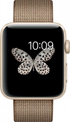 Chytré hodinky Apple Watch Series 2, 42mm pouzdro ze zlatého AL + kávově/karam