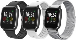 Chytré hodinky iGET Fit F3, 3 remienky, strieborná