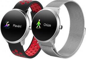 Chytré hodinky iGET Fit F4, 2 remienky, strieborná