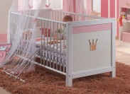 Cinderella - Detská postieľka, vrátane bočníc (biela, růžová)