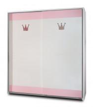 Cinderella - Skriňa s posuvnými dverami (biela, růžová)