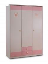 Cinderella - Skriňa trojdverová so zásuvkou (biela, růžová)