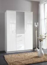 Clack - Skriňa, 3x dvere, zrcadlo (biela, biela)