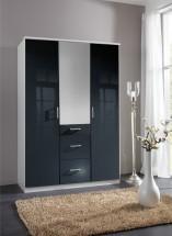 Clack - Skriňa, 3x dvere, zrcadlo (čierna, biela)