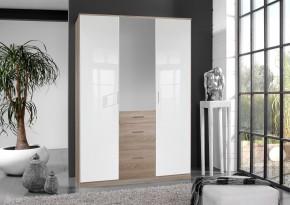 Clack - Skriňa, 3x dvere, zrcadlo (dub, biela)
