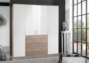 Clack - Skriňa, 4x dvere (dub, biela)
