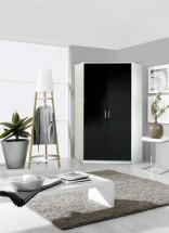 Clack - Skriňa rohová, 2x dvere (čierna, biela)