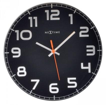 Classy Round - hodiny, nástenné, guľaté (sklo, nerez, čierne)
