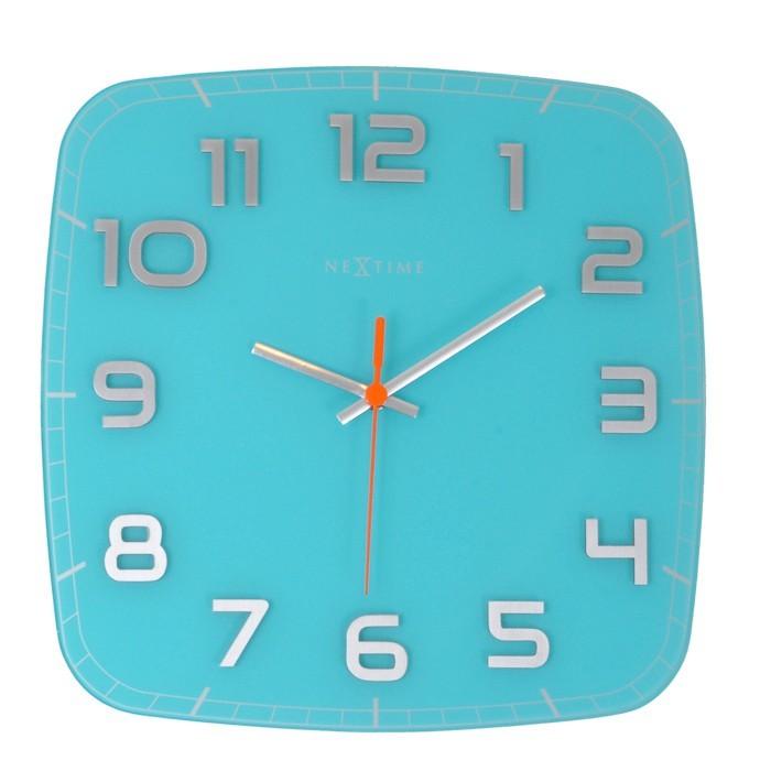 Classy Square - hodiny, nástenné, hranaté (sklo, nerez, biele)
