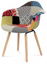 Color - Jedálenská stolička,podrúčkyCT-723 (patchwork/masiv buk)