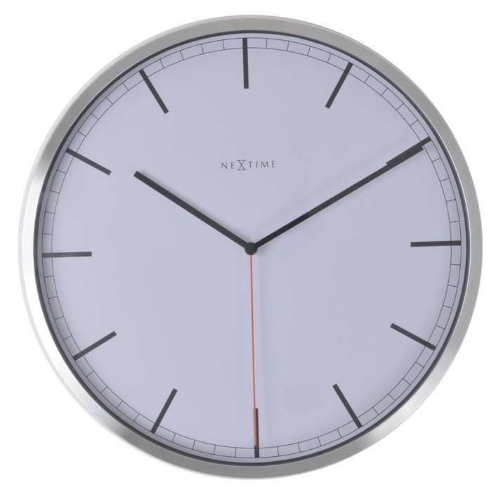 Company stripe - hodiny, nástenné, guľaté (kov, sklo, biele)