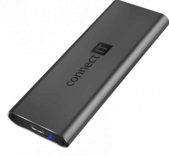 CONNECT IT AluSafe externý box na SSD disky, USB-C, antracitový