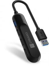 Connect IT USB-A hub USB 3.0, externý, čierny