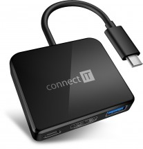 Connect IT USB-C hub, 3v1 (USB-C, USB-A, HDMI), externý, čierny