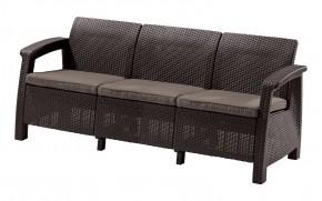 Corfu II Max Love Seat - Trojsedák (hnědá/tmavošedá)