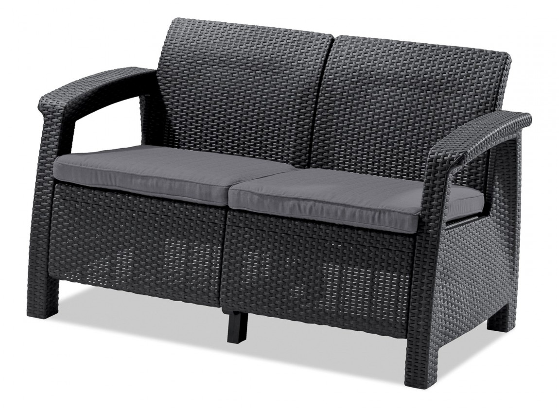 Corfu II - Set Love Seat (čierna, sivá)