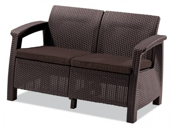 Corfu II - Set Love Seat (hnedá, čokoládovo hnedá)