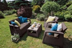 Corfu - Zahradní set (hnedá+šedohnedé podušky)