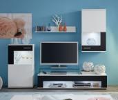 Corner - Obývacia stena (biela mat/biela, čierna mat)