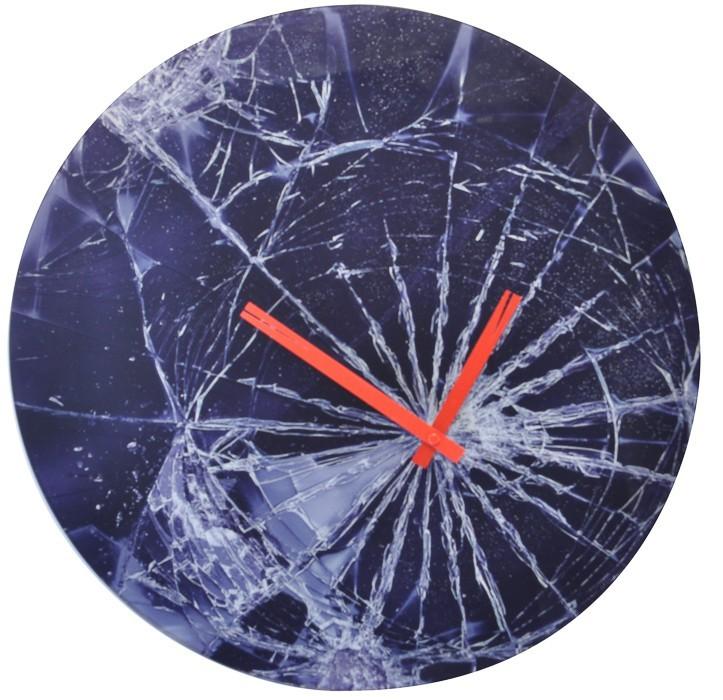Crash - hodiny, nástenné, guľaté (sklo, čierne)
