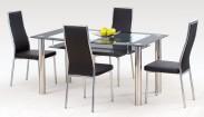 Cristal - Jedálenský stôl, oceľ / sklo číre / sklo čierne