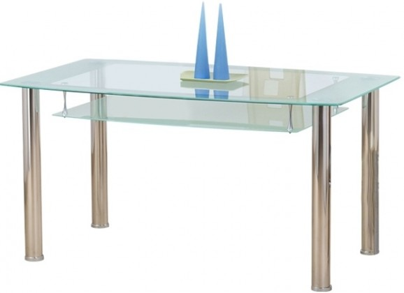 Cristal - Jedálenský stôl, oceľ / sklo číre / sklo mliečne