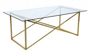 Cross - Konferenčný stolík,obdĺžnik (lesklé sklo, mosadzné nohy)