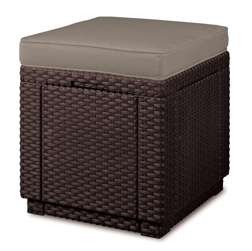 Cube - Taburet s úložným priestorom (hnedá, béžová)