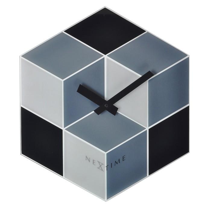 Cubic - hodiny, nástenné, hranaté (sklo, farebné)
