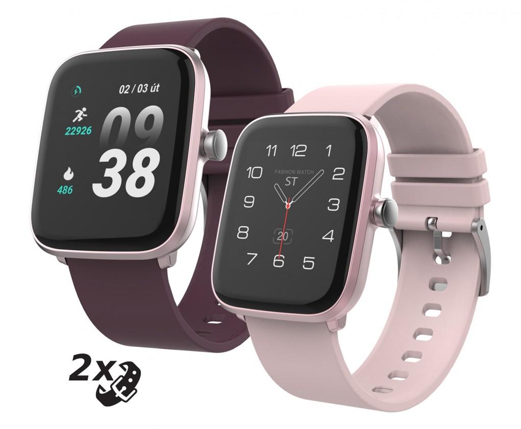 Dámske smart hodinky Chytré hodinky iGET Fit F25, 2x remienok, ružová