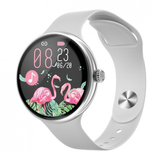 Dámske smart hodinky Immax Lady Music Fit, strieborná