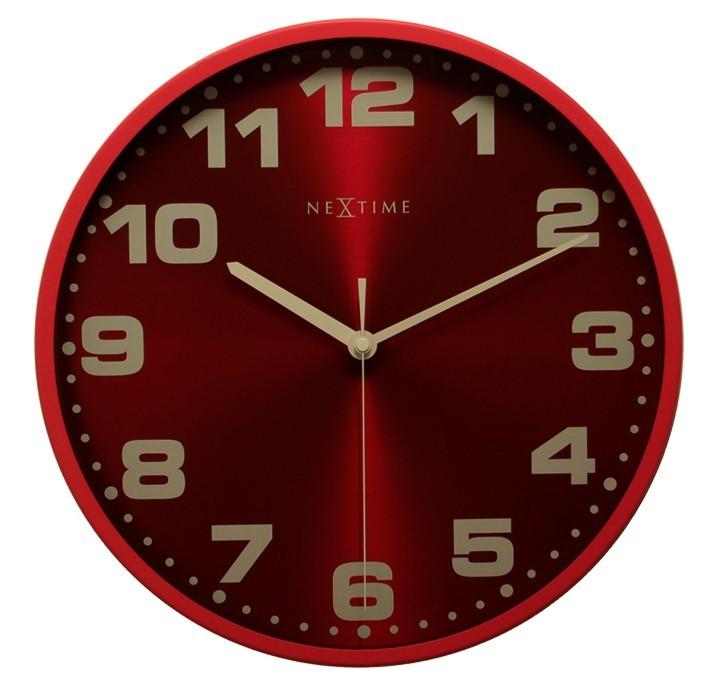 Dash - hodiny, nástenné, guľaté (kov, sklo, červené)