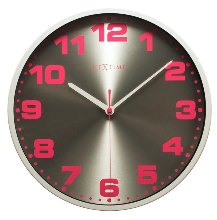Dash - hodiny, nástenné, guľaté, (kov, sklo, farebné)