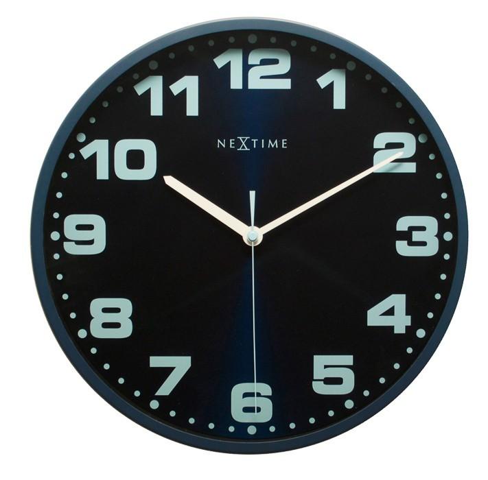 Dash - hodiny, nástenné, guľaté (kov, sklo, modré)