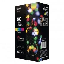 Dekor.reťaz 80xLED,8m,cherry gule, multicolor s časovačom
