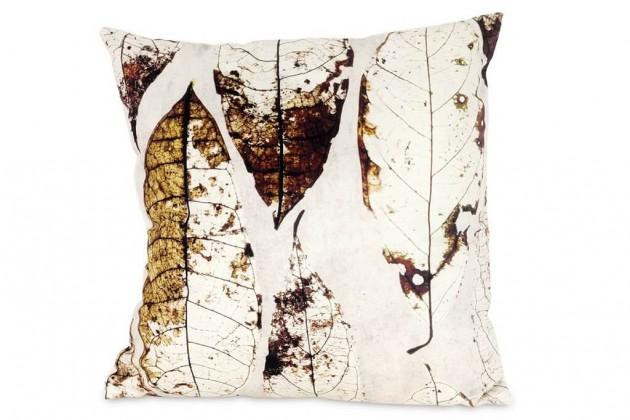 Dekoračné vankúše Vankúš Listy (45x45 cm, krémová)