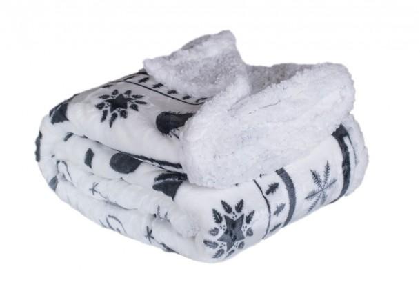 Deky Baránková deka DB01 (150x200 cm, biela, vianoce)