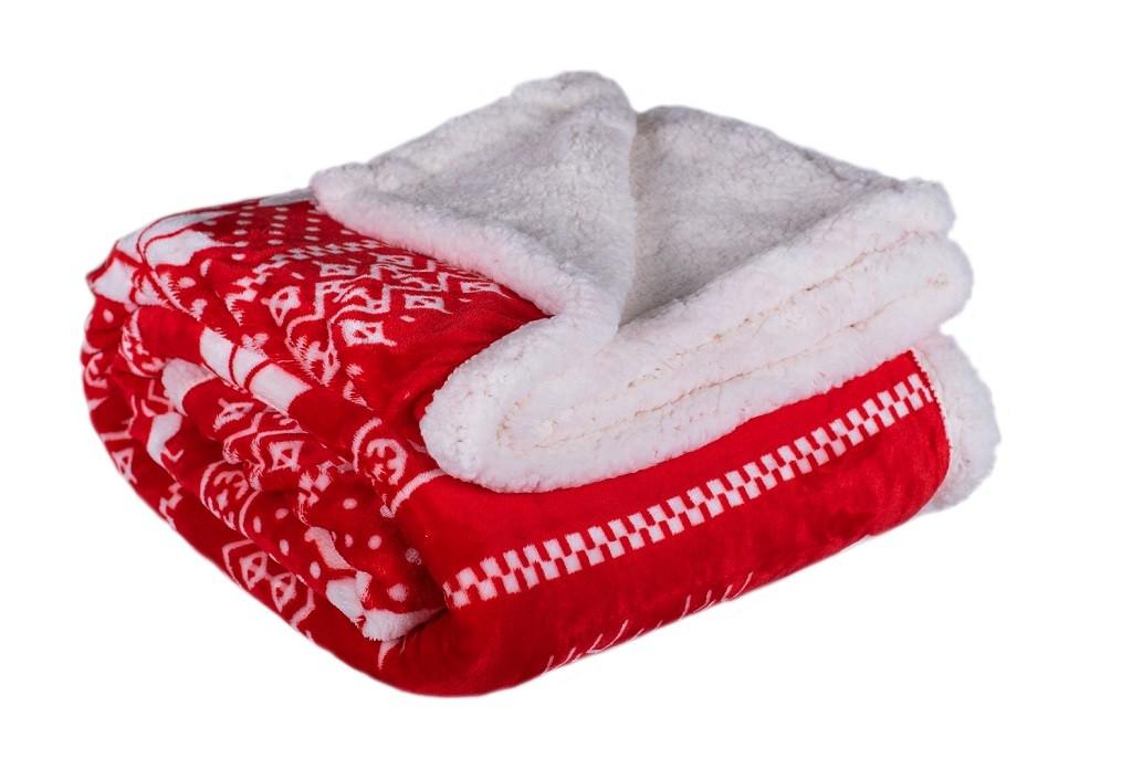 Deky Baránková deka DB02 (150x200 cm, červená, zima)