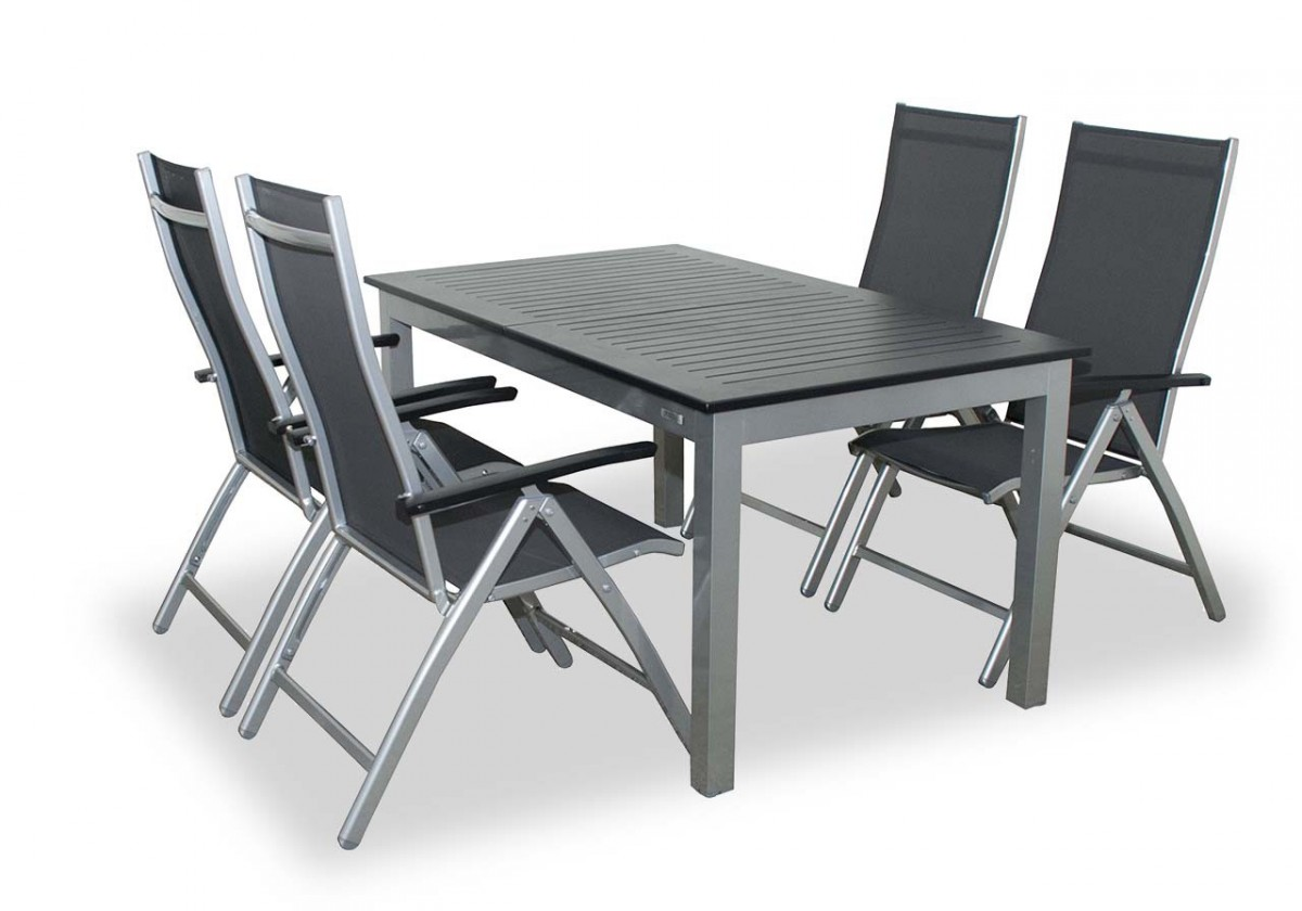 Detroit - Set stôl, 4x poloh. kreslo (strieborná, antracit)
