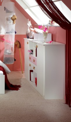 Detská komoda Cinderella - Skrinka (biela, růžová)
