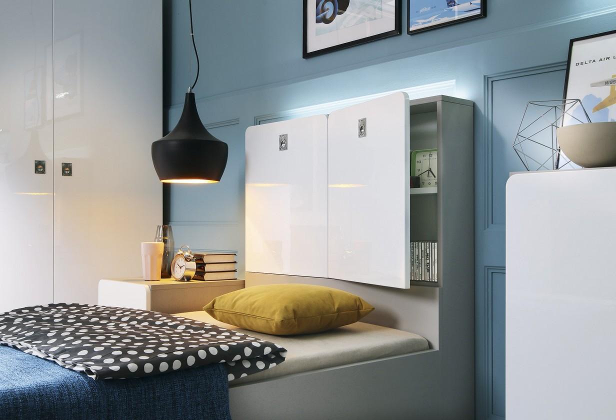 Detská komoda Dreamliner - Skrinka k posteli (dub sivý/biela vysoký lesk)